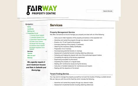 Screenshot of Services Page fairwaypropertycentre.com - Services - Fairway Property Centre - captured Sept. 30, 2014