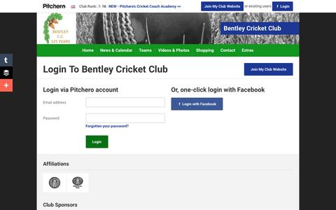 Screenshot of Login Page pitchero.com - Bentley Cricket Club - captured June 13, 2016