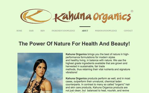 Screenshot of About Page kahunaorganics.com - mysite | ABOUT - captured Sept. 20, 2018