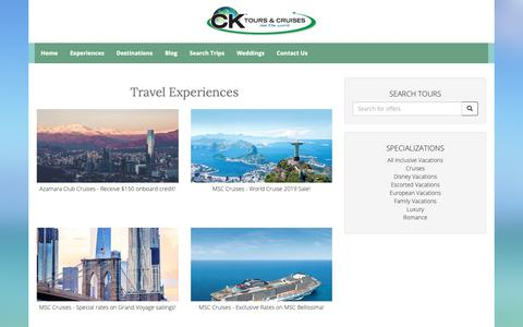 Screenshot of Products Page cktours.com - Travel Experiences - captured Sept. 25, 2018