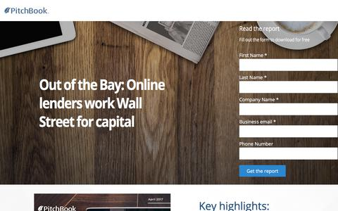 Screenshot of Landing Page pitchbook.com - PitchBook FinTech Analyst Note - Out of the Bay: Online lenders work the Street for capital - captured March 2, 2018
