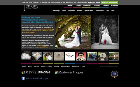 Screenshot of Home Page jenkins-photography.co.uk - Jenkins Photography - Professional,Commercial,Wedding and Event photography Swansea based - captured Sept. 30, 2014