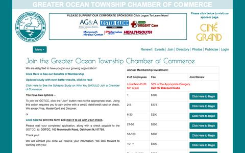 Screenshot of Signup Page gotcc.org - Join the Greater Ocean Township Chamber of Commerce     Greater Ocean Township Chamber of Commerce - captured April 23, 2017