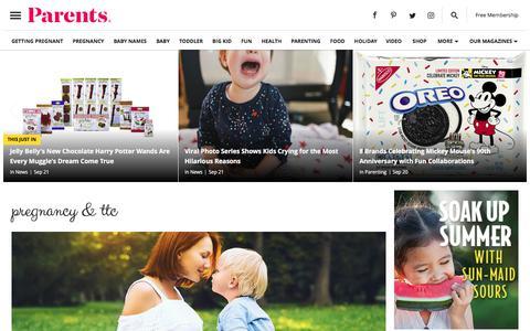 Screenshot of Home Page parents.com - Parents - Pregnancy, Birth, Babies, Parenting - captured Sept. 21, 2018