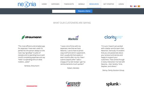 Screenshot of Testimonials Page nexonia.com - Customer Testimonials - Nexonia - captured Nov. 4, 2014
