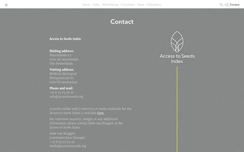 Screenshot of Contact Page accesstoseeds.org - Contact - Access to seeds - captured Oct. 23, 2017