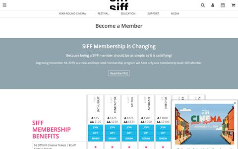 Screenshot of Signup Page siff.net - Become a Member - captured Nov. 3, 2019