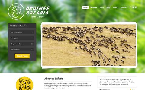 Screenshot of Home Page akotheesafaris.com - Akotheesafaris Tours & Travel - captured Sept. 30, 2014