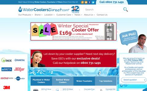 Screenshot of Home Page watercoolersdirect.com - Buy Water Coolers and Water Dispensers UK - Water Coolers Direct - captured Feb. 24, 2016