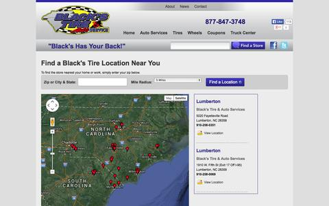 Screenshot of Contact Page Maps & Directions Page blackstire.com - Tire & Auto Repair Serivce in North Carolina & South Carolina | Black's Tire - captured Oct. 23, 2014