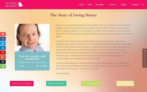 Screenshot of About Page living-money.com - About - Living Money - captured Feb. 16, 2018