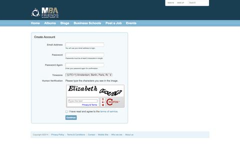 Screenshot of Signup Page mba-friends.com - MBA-friends.com is connecting all MBA professionals around the World online and offline! - Sign-up - captured Oct. 3, 2014