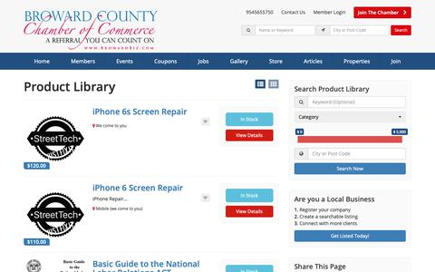 Screenshot of Products Page browardbiz.com - Broward County Chamber of Commerce Products - Find Broward County Chamber Of Commerce Products - captured Oct. 6, 2018