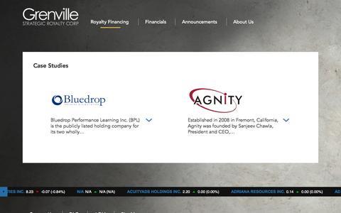 Screenshot of Case Studies Page grenvillesrc.com - Case Studies - Grenville Strategic Royalty Corp - captured Nov. 16, 2016