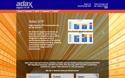 Screenshot of Home Page adax.com - Adax: Flexible and Scalable Solutions for Legacy to LTE  – Smarter Network Infrastructure - captured May 28, 2017