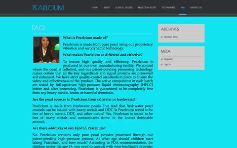 Screenshot of FAQ Page theperfectcalcium.com - FAQ | Pearlcium - captured Oct. 28, 2016