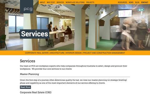 Screenshot of Services Page pcg.com.au - PCG | Services - captured Oct. 3, 2014