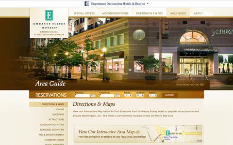 Screenshot of Maps & Directions Page embassysuitesdcmetro.com - Hotels near DC Metro Stations   Embassy Suites Hotel - Directions   Hotels on the Red Line - captured Sept. 22, 2014