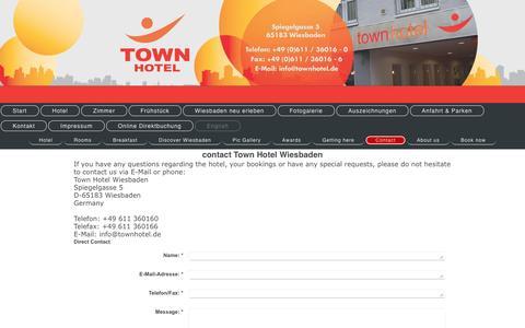Screenshot of Contact Page townhotel.de - Town Hotel Wiesbaden – Contact - captured June 9, 2016