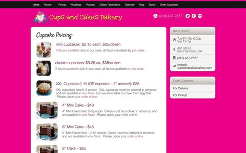 Screenshot of Pricing Page cupsandcakesbakery.com - Cupcake Pricing | Cups and Cakes BakeryCups and Cakes Bakery - captured Sept. 30, 2014