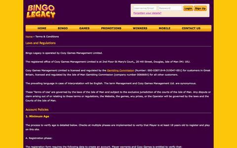 Screenshot of Terms Page bingolegacy.com - Terms & Conditions | Bingo Legacy - captured Jan. 2, 2017