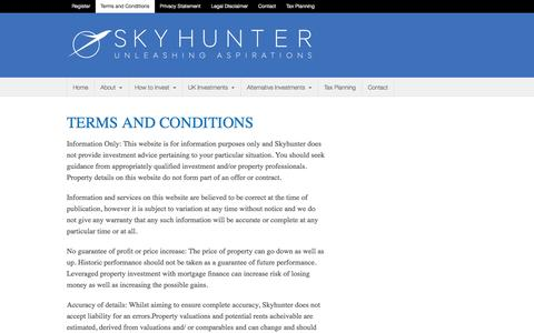 Screenshot of Terms Page skyhunter.co - Skyhunter.co   Terms and Conditions - captured Sept. 30, 2014