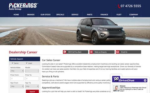 Screenshot of Jobs Page pickerings.com.au - Pickerings Careers   We have multiple sites of employment and various Automotive roles - Pickerings Auto Group - captured Aug. 2, 2017