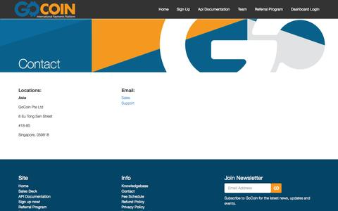 Screenshot of Contact Page gocoin.com - GoCoin - Contact us regarding Bitcoin payment processing - captured Sept. 16, 2014