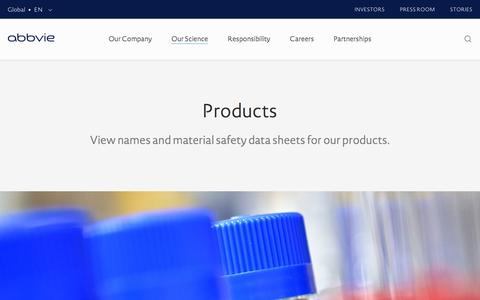 Screenshot of Products Page abbvie.com - Products – Our Science | AbbVie - captured Dec. 16, 2016