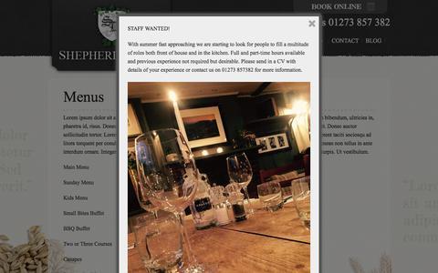 Screenshot of Menu Page shepherdanddogpub.co.uk - Menus - Shepherd & Dog - captured April 26, 2016