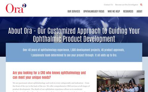 Screenshot of About Page oraclinical.com - About Our Ophthalmic Contract Research Organization (CRO) | Ora - captured Oct. 18, 2018