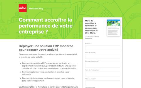 Screenshot of Landing Page infor.com - Comment accroître la performance de votre entreprise ? - captured April 1, 2018