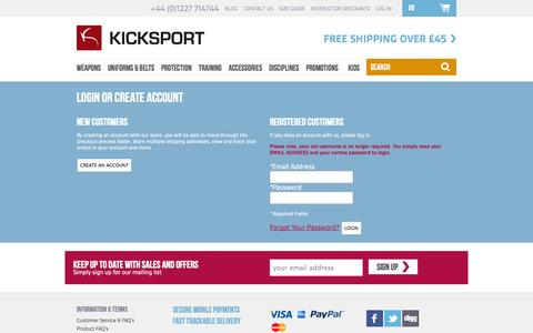Screenshot of Login Page kicksport.com - Customer Login - captured Sept. 16, 2014
