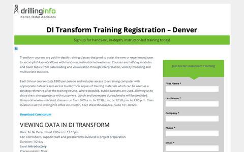 Screenshot of Landing Page drillinginfo.com - Transform Training - Denver Signup - captured April 5, 2019