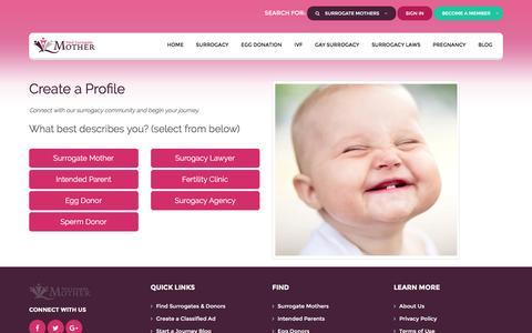 Screenshot of Signup Page findsurrogatemother.com - Create a Surrogacy Classified Ad - captured Nov. 25, 2016