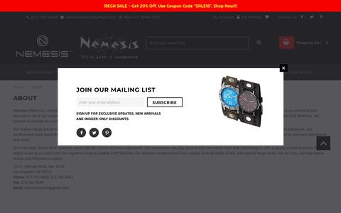 Screenshot of About Page nemesiswatch.com - About Us | Buy Watches & Bands Online | Nemesis Watch - captured Nov. 8, 2018