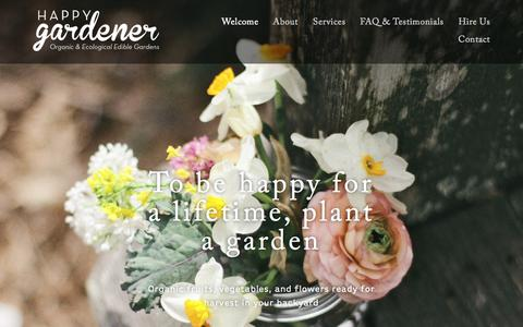 Screenshot of Home Page happy-gardener.com - The Happy Gardener - captured Jan. 26, 2015