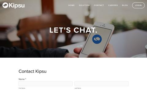 Screenshot of Contact Page kipsu.com - Contact | Learn More About Our Texting Solution — Kipsu - captured Aug. 9, 2016