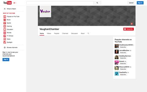 Screenshot of YouTube Page youtube.com - VaughanChamber  - YouTube - captured Oct. 26, 2014