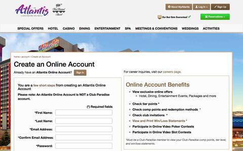 Screenshot of Signup Page atlantiscasino.com - Create an Account - captured Nov. 18, 2015