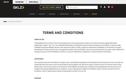 Screenshot of Terms Page sklz.com - Terms and Conditions - captured Nov. 2, 2018