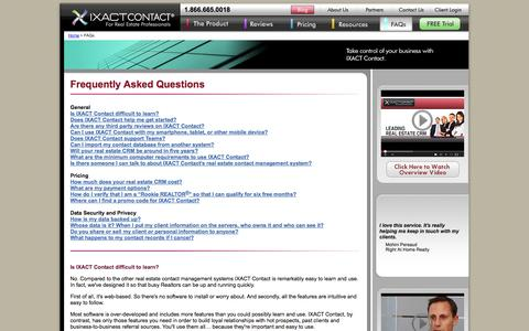 Screenshot of FAQ Page ixactcontact.com - Real Estate CRM & Contact Management | FAQs - captured Sept. 22, 2014
