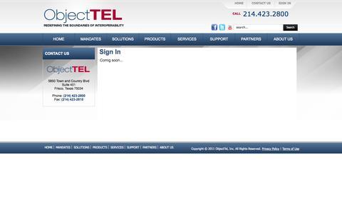 Screenshot of Login Page objecttel.com - Sign In - captured Oct. 27, 2014