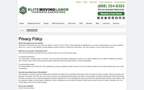 Screenshot of Privacy Page elitemovinglabor.com - Privacy Policy - Elite Moving Labor - captured Sept. 19, 2014