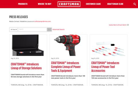 Screenshot of Press Page craftsman.com - Press Releases | CRAFTSMAN ® - captured Sept. 22, 2018