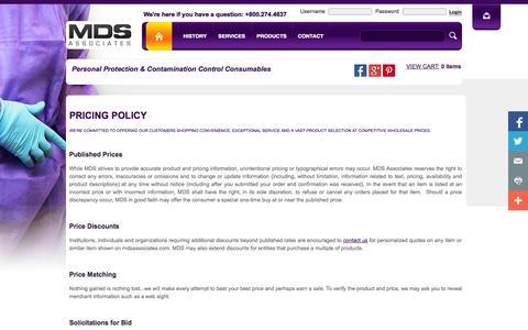 Screenshot of Pricing Page mdsassociates.com - Pricing Policity - MDS Associates, Inc. - captured Oct. 4, 2014