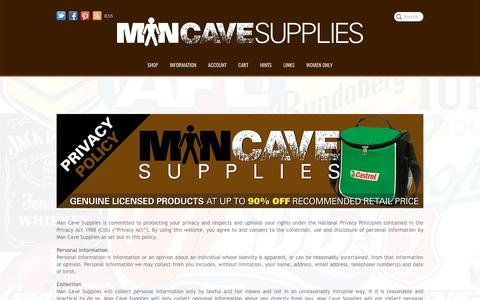 Screenshot of Privacy Page mancavesupplies.com.au - Man Cave Supplies | Privacy Policy - captured May 28, 2017