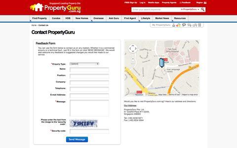 Screenshot of Contact Page propertyguru.com.sg - Contact Property Agent, Singapore Real Estate, Property Search   PropertyGuru - captured Sept. 17, 2014