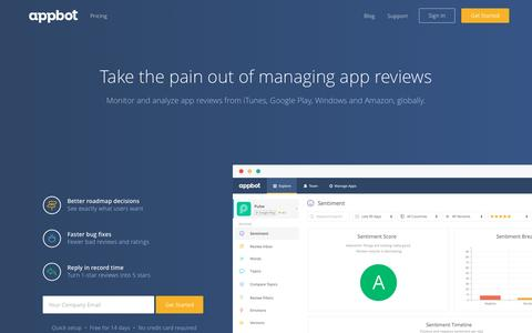 Screenshot of Home Page appbot.co - Appbot - Take the pain out of managing app store reviews - captured May 12, 2016