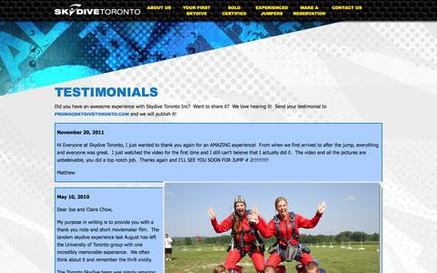 Screenshot of Testimonials Page skydivetoronto.com - Testimonials | Skydive Toronto - captured Oct. 7, 2014
